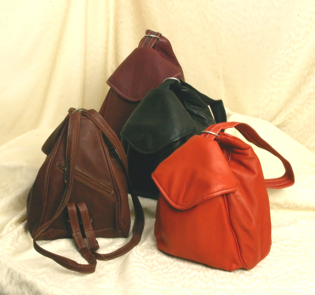 Leather sling backpack/purse