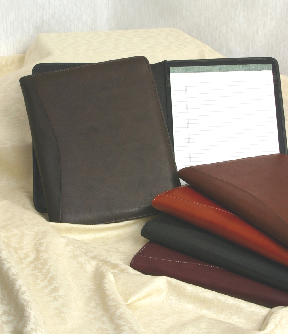 Leather Meeting folder w/paper