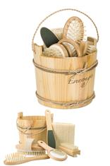 6pc Spa Kit in wood bucket